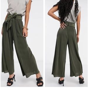 & Other Stories Plisse Wide Leg Pants in Khaki NWT